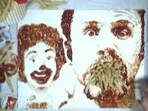 Ζωγραφική με κέτσαπ και τηγανιτές πατάτες - Δε ξέρω αν υπάρχουν πολλοί που θα μπορούσαν να σκεφτούν να ζωγραφίζουν με κέτσαπ και τηγανιτές πατάτες αλλά σίγουρα βρέθηκε τουλάχιστον ένας.