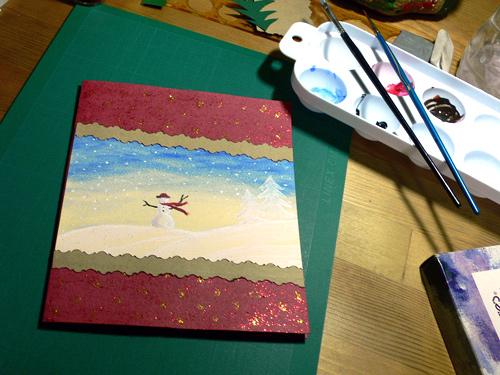 Φτιάξτε Χριστουγεννιάτικη Κάρτα με Χιονάνθρωπο - Ας δούμε πως γίνεται μια πολύ εύκολη χριστουγεννιάτικη κάρτα που έφτιαξα πριν λίγο η οποία χρειάζεται λίγη χαρτοκοπτική και πολύ απλή ζωγραφική.