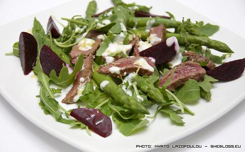 Steak, asparagus and beetroot salad