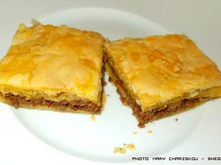 Πίτα σφολιάτας με μελιτζάνα και κιμά