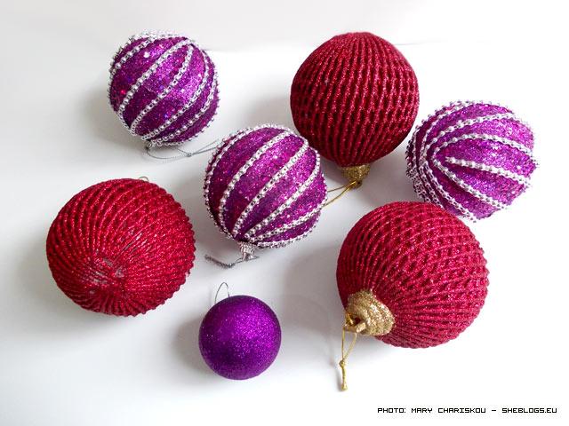 Χριστουγεννιάτικες μπάλες με χρυσόσκονες
