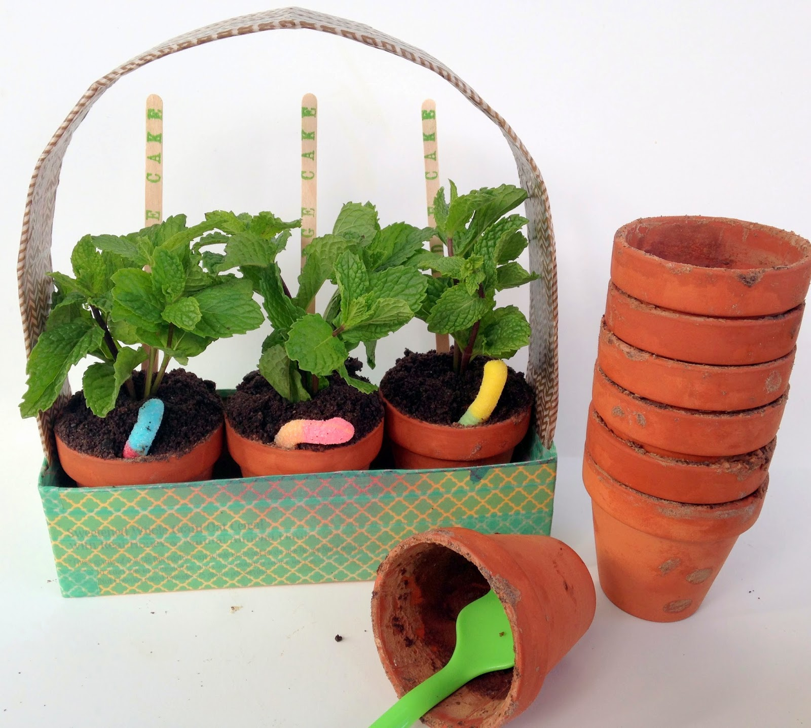 cupcake in flower pots