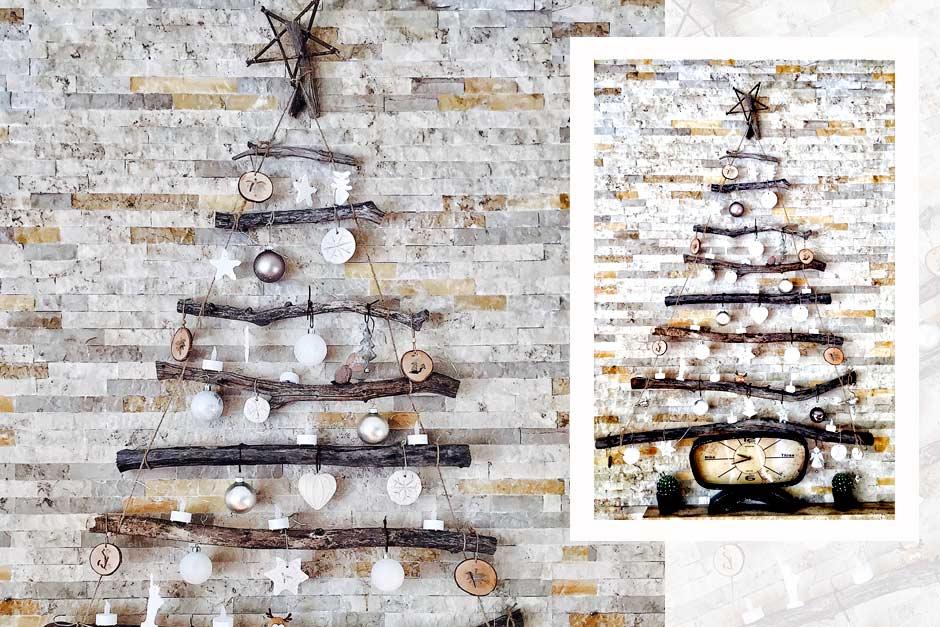 Φτιάξε κρεμαστό χριστουγεννιάτικο δέντρο από κλαδιά